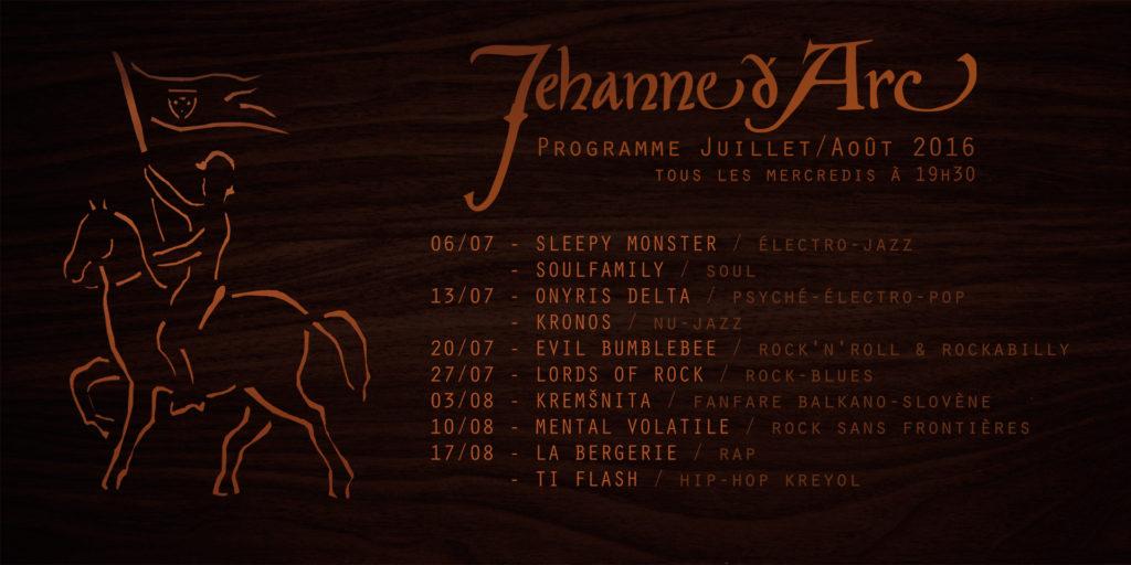 Programme des concerts au café Jehanne d'Arc à Metz, été 2016