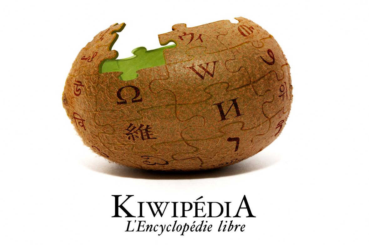 Photo d'un kiwi détournée de manière à le faire ressembler à la sphère de puzzles, logo de la célèbre encyclopédie libre Wikipédia.