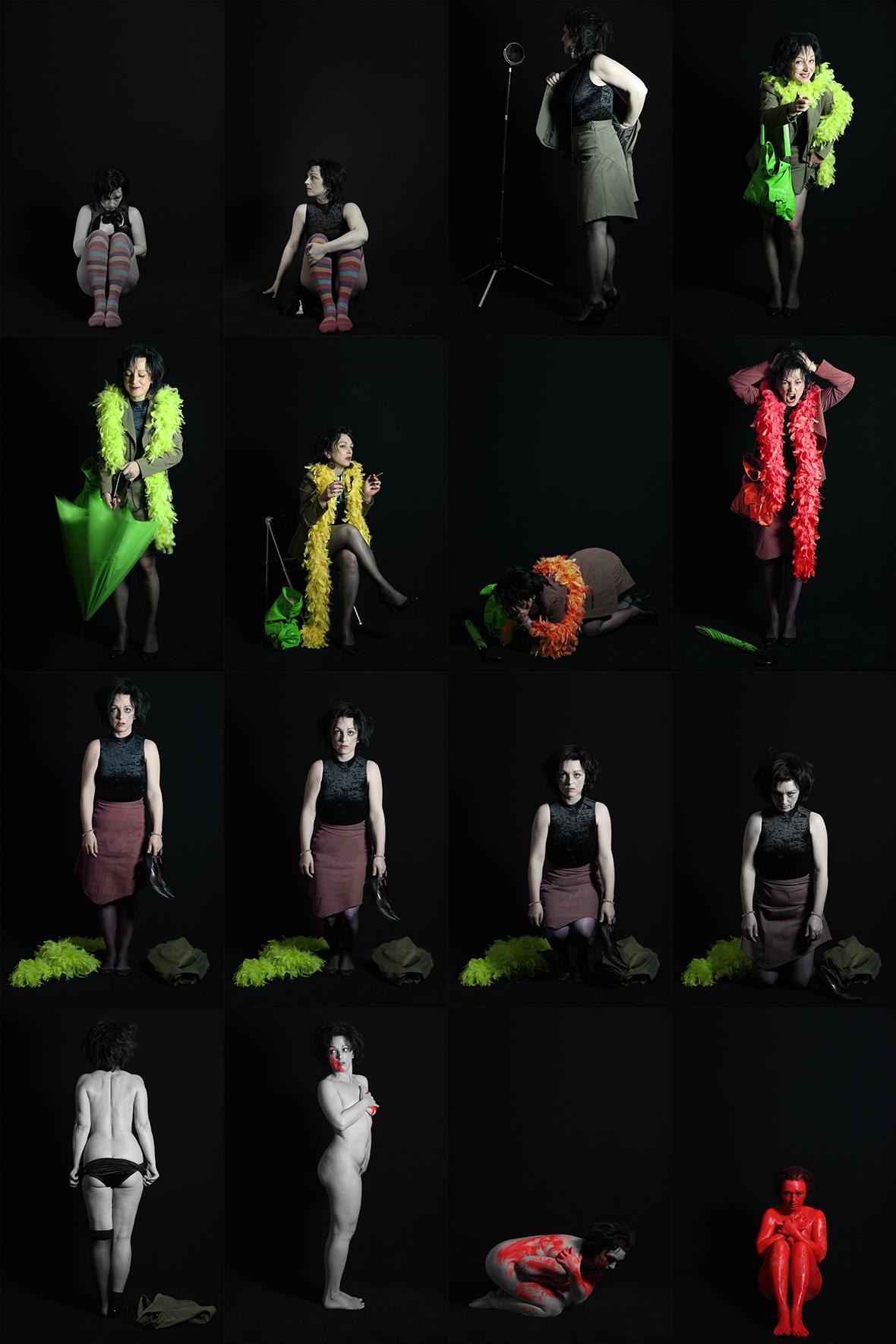 Image d'un roman-photo en 16 images retouchées colorimétriquement en fonction de l'humeur de la personne